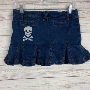 Betsey Johnson jean mini skirt with skull print